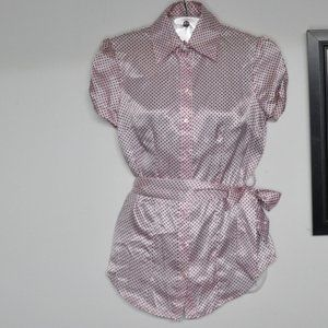 BCX Button Up Blouse Pink with Black Polka Dots